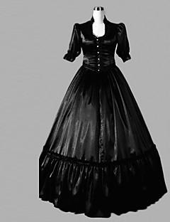One-Piece/Dress Classic/Traditional Lolita Lolita Cosplay Lolita Dress Black Solid Half-Sleeve Floor-length Dress For Women Satin