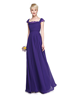 2017 Lanting Bride® Floor-length Chiffon Elegant Beautiful Back Bridesmaid Dress - A-line Square with Lace Pleats
