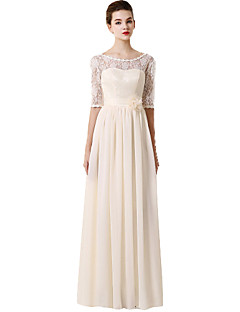 Floor-length Chiffon / Lace Mix & Match Sets Bridesmaid Dress - A-line Sweetheart withAppliques / Bow(s) / Flower(s) / Lace / Pearl