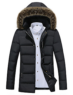 Men's Long Padded Coat,Vintage / Simple / Street chic Plus Size / Casual/Daily / Work Solid-Cotton / Polyester Cotton Long Sleeve Hooded