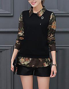 Feminino Camisa Social Casual Simples / Sofisticado Outono / Inverno,Retalhos Preto / Verde Algodão / Raiom Colarinho de CamisaManga