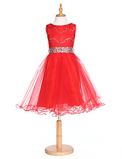 2017 plesové šaty čaj délka květin šaty - krajka / tyl bez rukávů šperk s krystal podrobně / krajkou