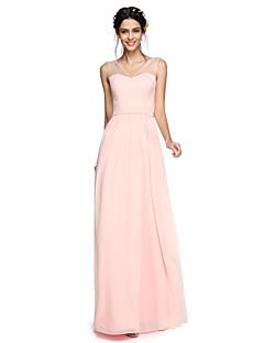 2017 Lanting andar de comprimento bride® georgette abrir volta vestido de dama de honra / elegante - A linha V-neck com arco (s)