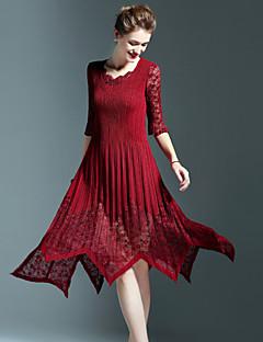 Dámské Jednoduché Běžné/Denní Pouzdro Šaty Jednobarevné,Tříčtvrteční rukáv Kulatý Asymetrické Růžová Červená Černá Zelená Polyester Podzim