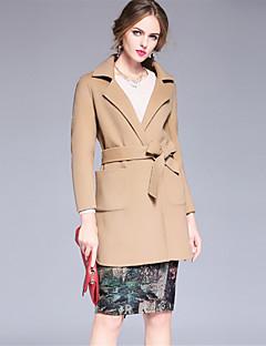 Feminino Casaco Casual Simples Outono Inverno, Sólido Bege Lã Colarinho de Camisa-Manga Longa Grossa
