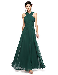 2017 Lanting andar de comprimento bride® chiffon abrir volta vestido de dama de honra - halter uma linha com faixa