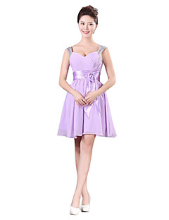 Short / Mini Chiffon Mix & Match Sets / Lace-up Bridesmaid Dress - A-line One Shoulder with Ruffles