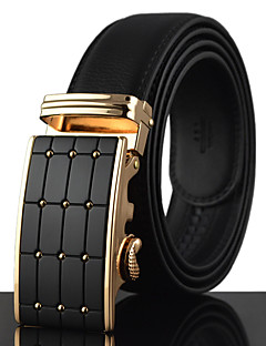 Men's Simple Black Leather Alloy Automatic Buckle Business Waist Belt Work / Casual Leather All Season Gold / Silver