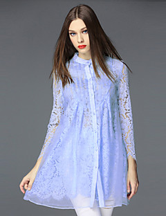 FRMZ Women's Going out Sophisticated Lace DressSolid Stand Mini Long Sleeve Fall Mid Rise Inelastic