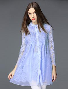 Damen Spitze Kleid-Ausgehen Anspruchsvoll Solide Ständer Mini Langarm Blau / Schwarz Baumwolle / Polyester / Nylon HerbstMittlere