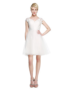 LAN TING BRIDE Short / Mini Queen Anne Bridesmaid Dress - See Through Short Sleeve Lace Tulle