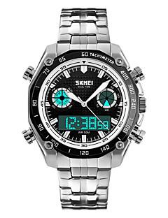 SKMEI Masculino Relógio Elegante Relógio de Moda QuartzoLED Calendário Cronógrafo Impermeável Dois Fusos Horários alarme Cronômetro