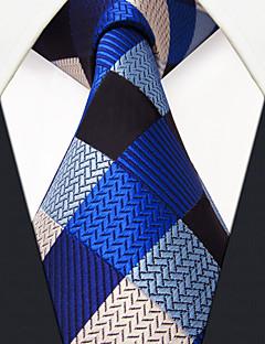 Masculino Gravata Azul,Vintage Fofo Festa Trabalho Casual Quadriculada Seda Todas as Estações