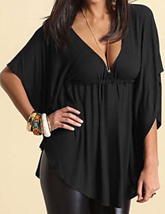 Tee-shirt Femme,Couleur Pleine Sortie Décontracté / Quotidien Grandes Tailles Sexy simple Printemps Automne ½ Manches Col en VBleu Rouge
