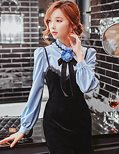 Women's Going out Formal Party/Cocktail Vintage Cute Sophisticated Fall Winter ShirtSolid Color Block Stand Long Sleeve Blue