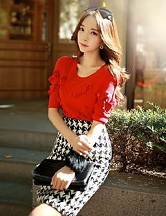 Damen Standard Pullover-Lässig/Alltäglich Party/Cocktail Ausgehen Retro Niedlich Anspruchsvoll Solide Rot Rundhalsausschnitt ½ Länge Ärmel