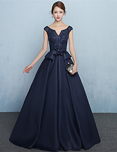 Formal Evening Dress - Lace-up A-line V-neck Floor-length Jersey with Sash / Ribbon