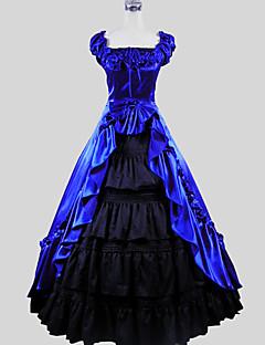 One-Piece/Dress Skirt Gothic Lolita Victorian Cosplay Lolita Dress Blue Solid Short Sleeve Ankle-length Skirt Dress For WomenCotton
