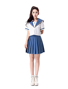 Cosplay Costumes Career Costumes Student/School Uniform Festival/Holiday Halloween Costumes White Blue Solid Top Skirt Halloween Carnival