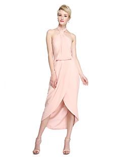 Lanting Bride® Asymetrické Šifón Furcal Šaty pro družičky - Pouzdrové Ohlávka s Rozparek vpředu Sklady
