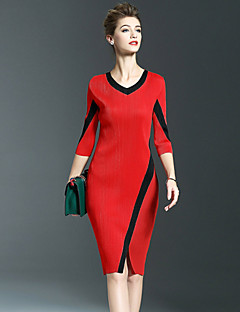 SHYSLILY Women's Casual/Daily Simple Sheath DressColor Block V Neck Knee-length  Sleeve Red Black Polyester Fall Mid Rise Stretchy Medium