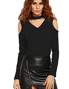 Women's Going out Club Sexy Simple Spring Fall Off-The-Shoulder Slim All Match T-shirtSolid V Neck Long Sleeve Medium