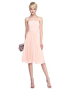 Lanting Bride® באורך  הברך שיפון שמלה הניתנת להמרה שמלה לשושבינה  - גזרת A סטרפלס עם סרט בד נשפך בצד