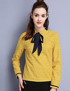 女性 カジュアル/普段着 秋 シャツ,シンプル スタンド ソリッド ブラック コットン ナイロン 長袖