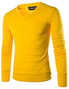 Masculino Padrão Pulôver,Casual Simples Sólido Vermelho Preto Marrom Cinza Amarelo Roxo Decote V Manga Longa Algodão PoliésterOutono