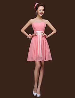Short / Mini Mix & Match Sets / Lace-up Bridesmaid Dress - Sheath / Column Halter / Sweetheart / Straps with Sash / Ribbon