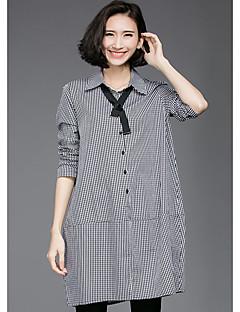 Women's Casual/Daily Simple Fall Shirt,Check Shirt Collar Long Sleeve Black Cotton Medium