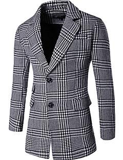 Men's Casual/Daily Simple Coat,Check Shirt Collar Long Sleeve Fall Winter Gray Cotton Medium