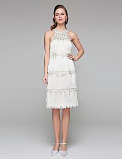 Lanting Bride® Tubinho Vestido de Noiva - Chique e Moderno Vestidos Brancos Justos Transparências Até os Joelhos Decorado com Bijuteria