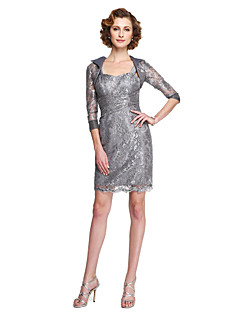 2017 Lanting Bride® Sheath / Column Mother of the Bride Dress - Two Pieces Knee-length Sleeveless Lace with Appliques Lace