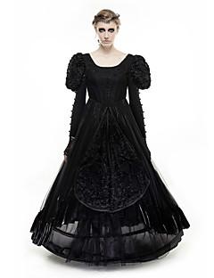 סתיו חורף פוליאסטר שחור שרוול ארוך מקסי צווארון עגול אחיד וינטאג' פאנק & גותיות יום יומי\קז'ואל מסיבה\קוקטייל שמלה סווינג נשים,גיזרה