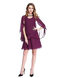 Lanting Bride® גזרת A שמלה לאם הכלה  - כולל עטיפה קצר \ מיני ללא שרוולים שיפון  -  סיכה מקריסטל פרנזים