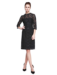 LAN TING BRIDE Sheath / Column Mother of the Bride Dress - Sparkle & Shine Little Black Dress Knee-length 3/4 Length Sleeve Lace with