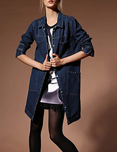 אחיד פשוטה ליציאה ז'קטים מג'ינס נשים,כחול שרוול ארוך סתיו חורף בינוני (מדיום) אחרים