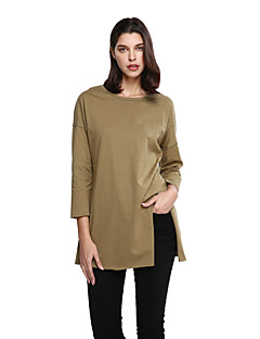 Women's Going out Plus Size Vintage Long Pullover,Solid Green Round Neck Long Sleeve Cotton Polyester Fall Medium Micro-elastic