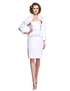 LAN TING BRIDE Sheath / Column Mother of the Bride Dress - Two Pieces Knee-length Sleeveless Stretch Satin with Beading Sash / Ribbon