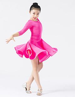 ריקוד לטיני שמלות בגדי ריקוד ילדים ביצועים ספנדקס פוליאסטר שכבות מדורגות עטוף חלק 1 שרוול ארוך טבעי שמלה