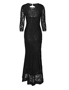 Women's Formal Party/Cocktail Vintage Bodycon Lace Dress,Solid Round Neck Maxi ¾ Sleeve Black Polyester Summer High Rise Micro-elastic