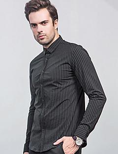 פסים צווארון חולצה סגנון רחוב פורמאלי חולצה גברים,אביב קיץ שרוול ארוך שחור דק בינוני (מדיום) משי