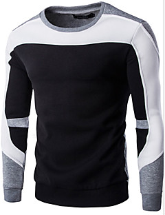 Men's Casual/Daily Sweatshirt Color Block Round Neck Micro-elastic Cotton Long Sleeve Fall