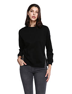 Women's Plus Size Casual/Daily Simple Sweatshirt Solid Round Neck Micro-elastic Cotton Polyester Long Sleeve Fall Winter