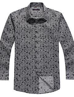 Masculino Camisa Social Casual Moda de Rua Inverno,Estampado Cinza Algodão Colarinho de Camisa Manga Longa Média