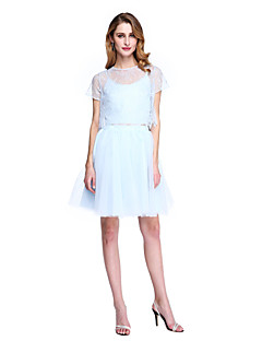 2017 Lanting Bride® A-line Mother of the Bride Dress - Two Pieces Knee-length Short Sleeve Lace Tulle with Lace