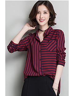 Feminino Camisa Social Para Noite Casual Vintage Simples Primavera,Listrado Azul Vermelho Marrom Poliéster Colarinho de Camisa Manga Longa