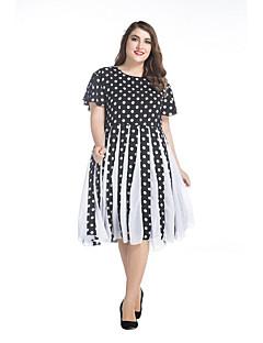 Kadın Büyük Beden Sokak Şıklığı Şifon Elbise Yuvarlak Noktalı,Kısa Kollu Yuvarlak Yaka Diz-boyu Siyah Splandeks Bahar Normal Bel