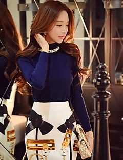 Damen Standard Pullover-Ausgehen Lässig/Alltäglich Urlaub Retro Punk & Gothic Anspruchsvoll Solide Einfarbig Blau Ständer Langarm